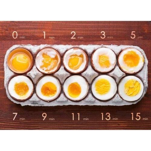 Photo comparative de cuisson de 12 oeufs cuits avec le cuiseur oeuf coque professionnel.